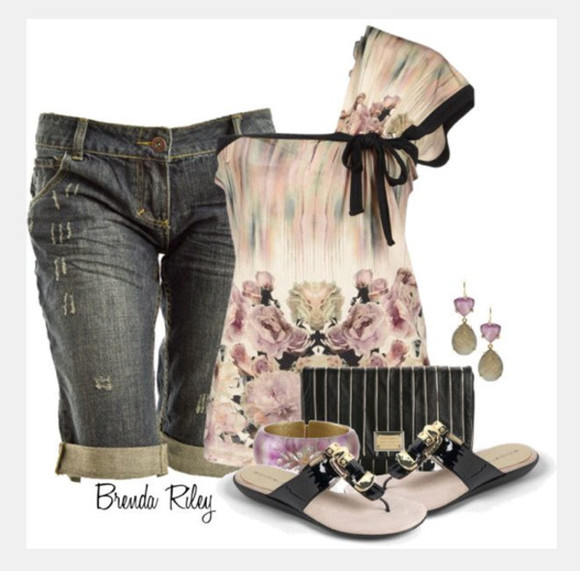 bag shoes clutch blouse top off the shoulder short sleeve clothes outfit cute top one shoulder loose sleeve capris flats sandals earrings floral top