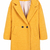 Yellow Lapel Long Sleeve Slim Woolen Coat - Sheinside.com