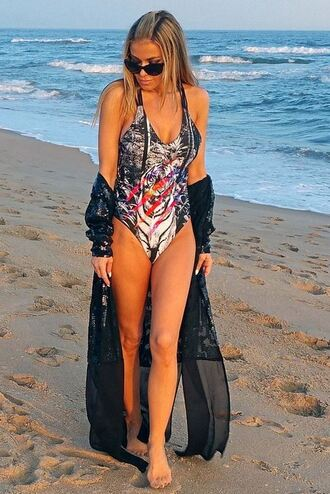 swimwear one piece swimsuit summer outfits summer carmen electra cardigan