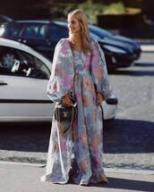 dress,maxi dress,wrap dress,floral dress,long sleeve dress,handbag,chain bag