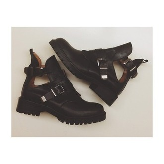 shoes boots cut out ankle boots leather buckles black jeffrey campbell balenciaga