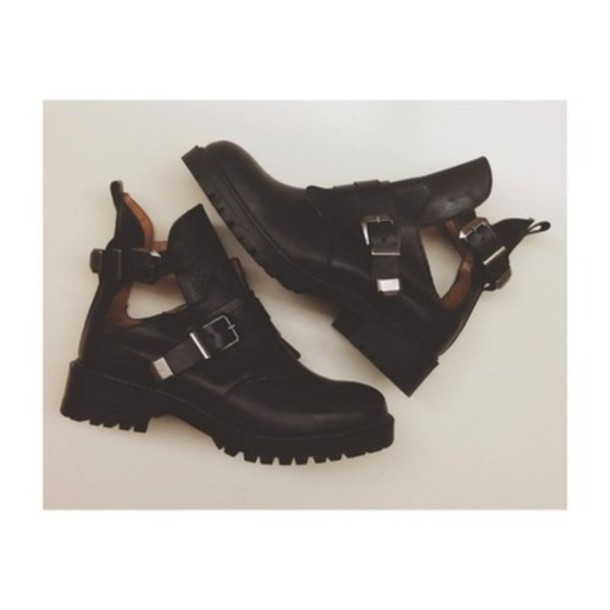 shoes boots cut out ankle boots leather buckles black
