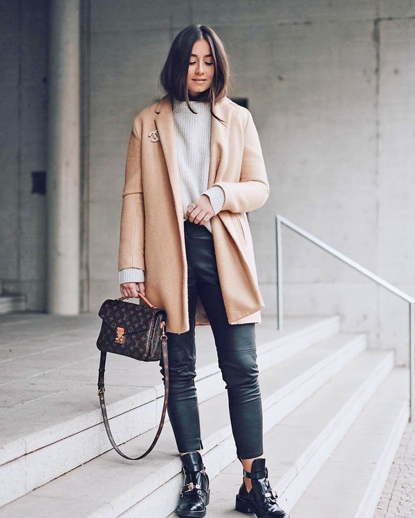 coat tumblr camel camel coat sweater knit knitwear knitted sweater pants leather pants black leather pants boots ankle boots