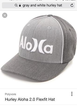 hat grey white hurley aloha