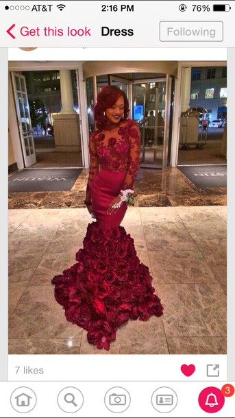dress red dress lace dress flowers mermaid/trumpet prom dress