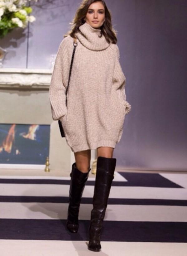 Shoes: dress, cute, knit, beige, sweater, sweater dress, knitwear ...