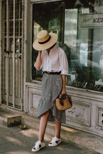 skirt blogger blogger style gingham gingham skirt ruffle wrap ruffle skirt white sneakers white shirt summer hat summer hats basket bag gucci belt skater skirt