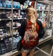 jacket,black,red,baseball jacket,twitter,blonde hair,shorts,bag,girl,embroidered,japan