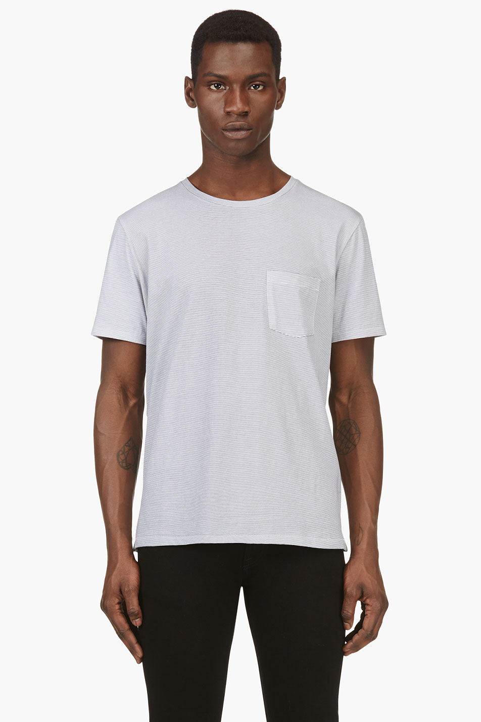 Rag and bone white and grey striped pocket t shirt for Rag and bone white t shirt