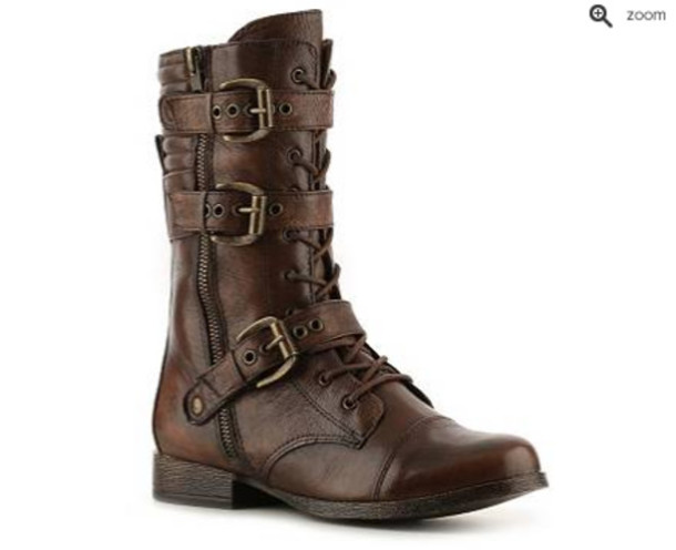 Shoes: boots, brown boots, grunge, punk, combat boots, buckle ...
