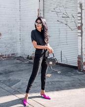 shoes,pink,bag,sunglasses,mules,jeans,denim,black jeans,black t-shirt,t-shirt