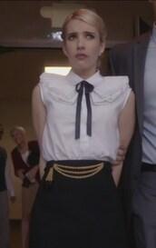 shirt,white,pencils,skirt,collar,chanel oberlin,emma roberts,sleeveless,scream queens,ruffle,studs,earrings,jewels