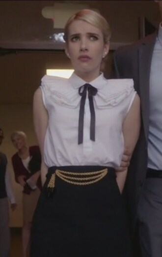 shirt white pencils skirt collar chanel oberlin emma roberts sleeveless scream queens ruffle studs earrings jewels