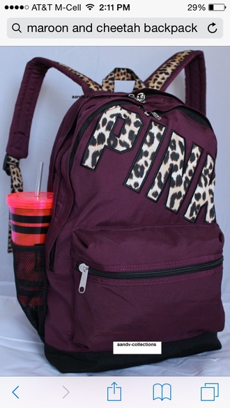 bag victoria secret backpack burgundy leopard print pink by victorias secret school bag