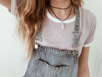 jewels t-shirt cotton top hipster vintage grunge soft necklace quartz romper overalls tank top