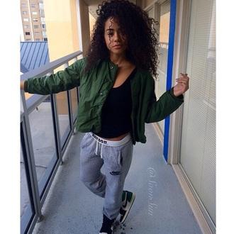 jacket pants urban green olive green nike nike sweatpants air jordan air jordan 1 curly hair pretty girl tumblr outfit tumblr tumblr girl belt bag swag