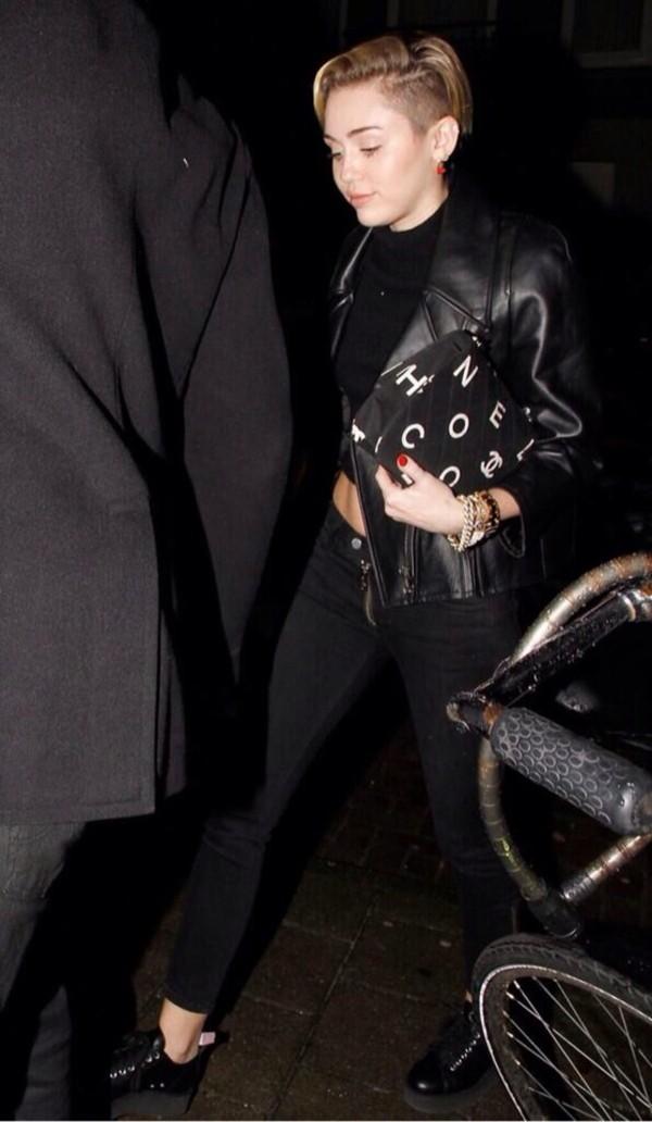 jacket miley cyrus black leather jacket forever 21 bag