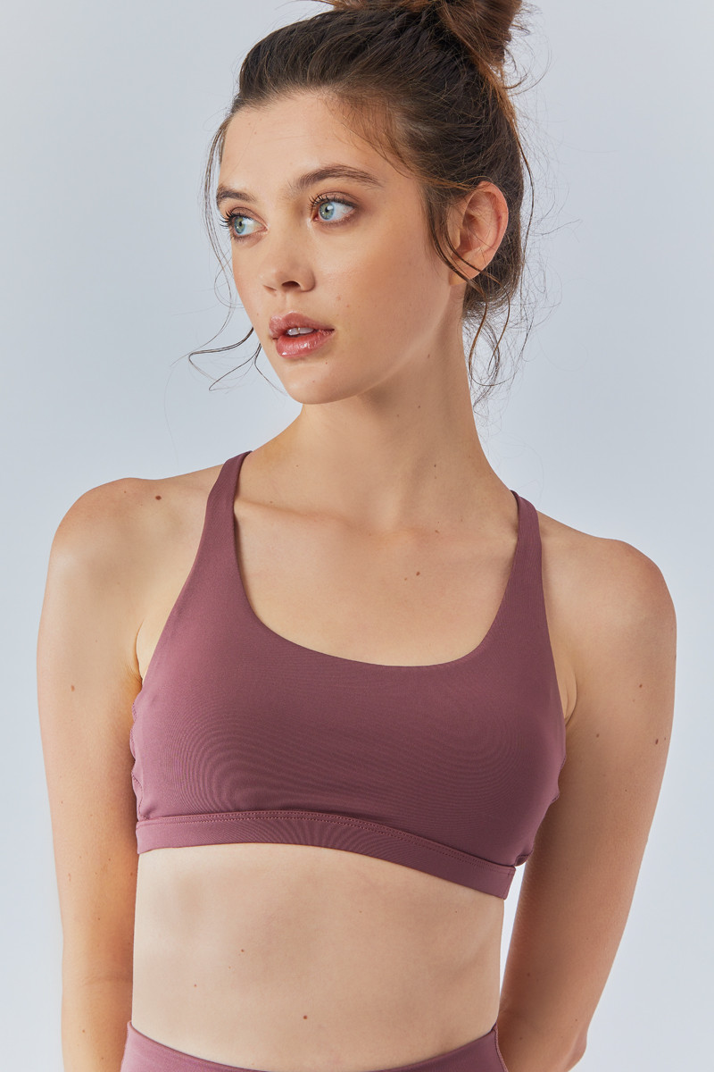 Nimble Activewear Flow and Go Sports Bra in Rose Taupe