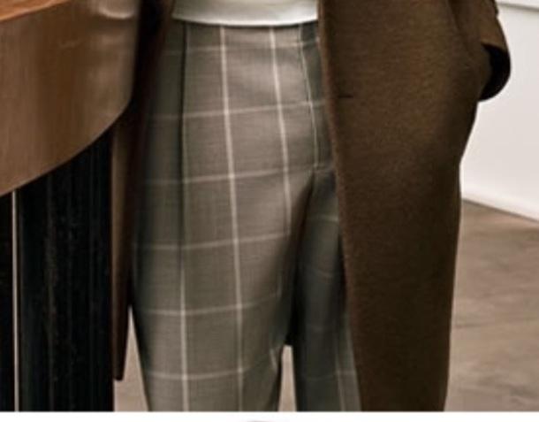 pants windowpane tan trouser