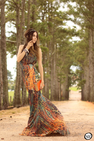 fashion coolture blogger folk boho maxi dress print jewels clutch