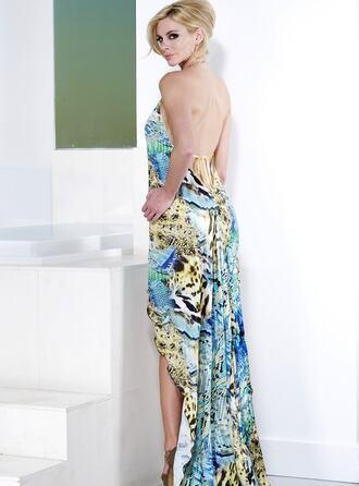 dress baccio baccio couture blue print silk dress yellow