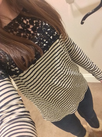 shirt bailey44 stripes lace cute cute top long sleeve cute long sleeve black gold lace top