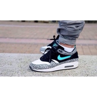 shoes nike air nike nike sneakers elephant zebra print blue white black air max nike airmax 1's