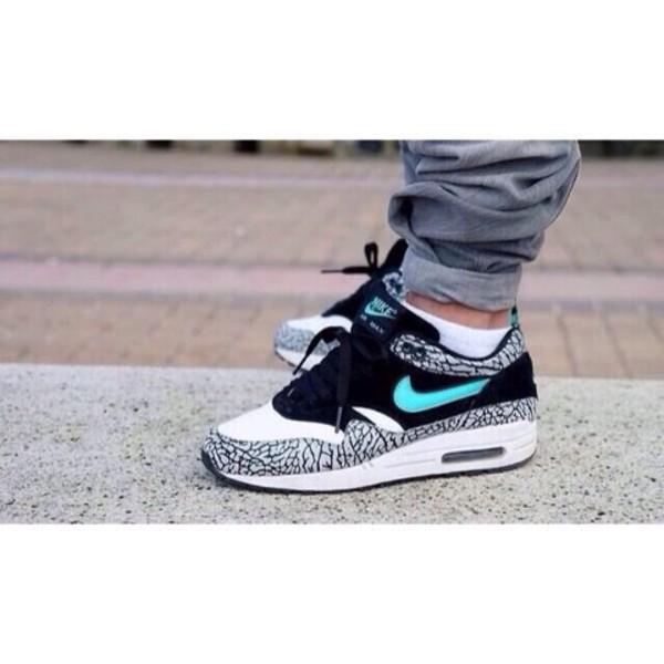 shoes nike air nike nike sneakers elephant zebra blue white black air max nike air max 1