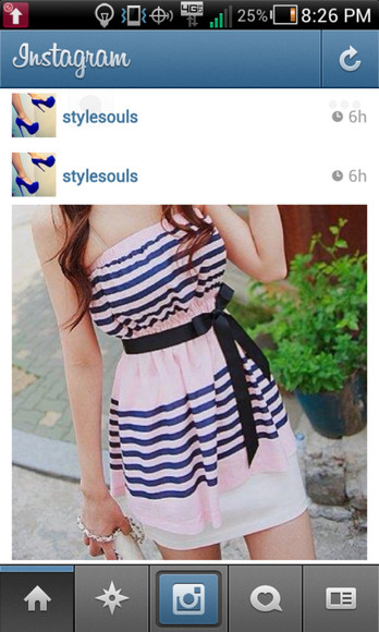 sleeveless dress pink dress bow sleveless dress blue stripes blue