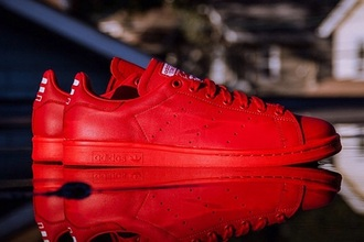 shoes red shoes stan smith