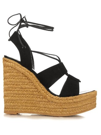 sandals wedge sandals suede black shoes