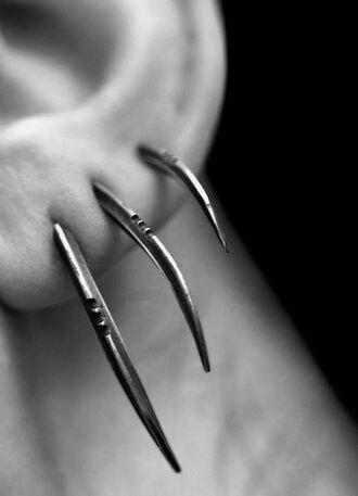 jewels jewelry earrings piercing claws emo scene edgy ear piercings claw jewelry earrings