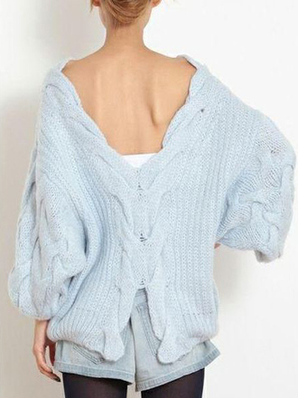 swimwear choies luxurious-backless oversize-sweater light-blue