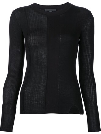 jumper women slit spandex cotton black sweater