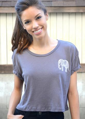 t-shirt elephant elephant top top crop tops crop tee gray grey