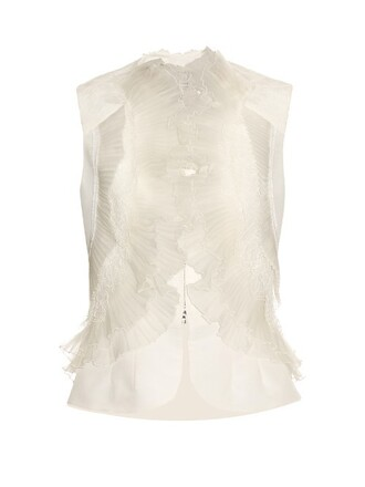 top pleated silk white