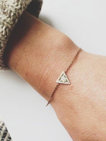 jewels charm bracelet bracelets triangle friendship bracelet bracelet jewelry stacking print aztec design simple elegant gold small treasure indie hipster boho chic shorts thin