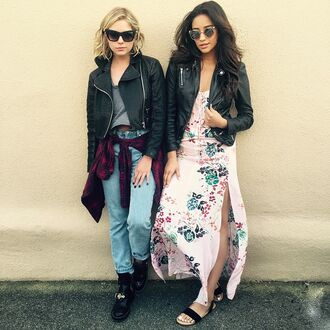 dress shay mitchell sandals jacket ashley benson sunglasses biker jacket