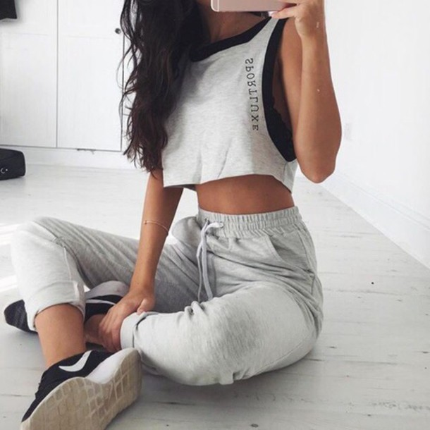top shirt crop tops grey crop top shoes nike pants sweatpants joggers high waisted jogging bottoms grey adidas joggers