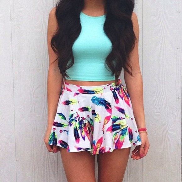 light blue top turquoise sleeveless crop tops skirt feather mini skirt skater colourful rainbow