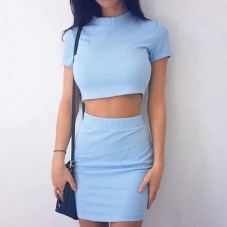 dress two piece dress set two-piece blue spring co ord baby blue fashion summer summer outfits abs cute pretty streetstyle co-ordinates