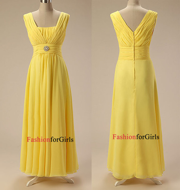 3512260a90 dress simple cheap yellow chiffon floor length v neck ruched bodice long  prom dress evening dress