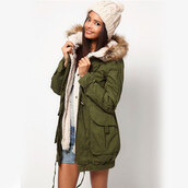 coat,hood,army green,green parka,fur lined,fur trimmed hood,blue parka,black parka,shorts