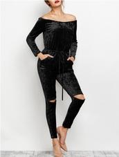 jumpsuit,girly,girl,girly wishlist,velvet,crushed velvet,jumper,black jumpsuit,off the shoulder