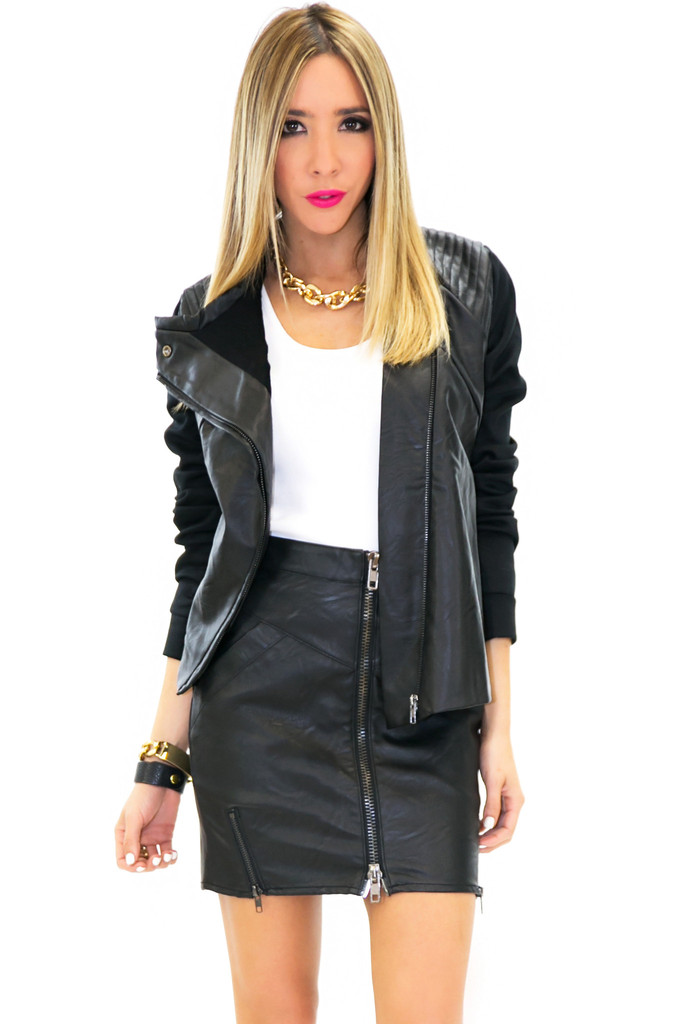 BRIN LEATHER CONTRAST MOTO JACKET - Black | Haute & Rebellious