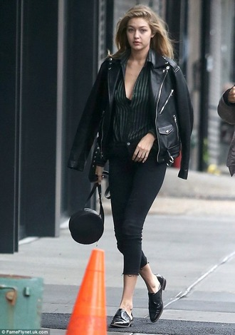 jacket leather jacket leather biker jacket biker jacket gigi hadid new york city streetstyle model fashion style leather black leather jacket
