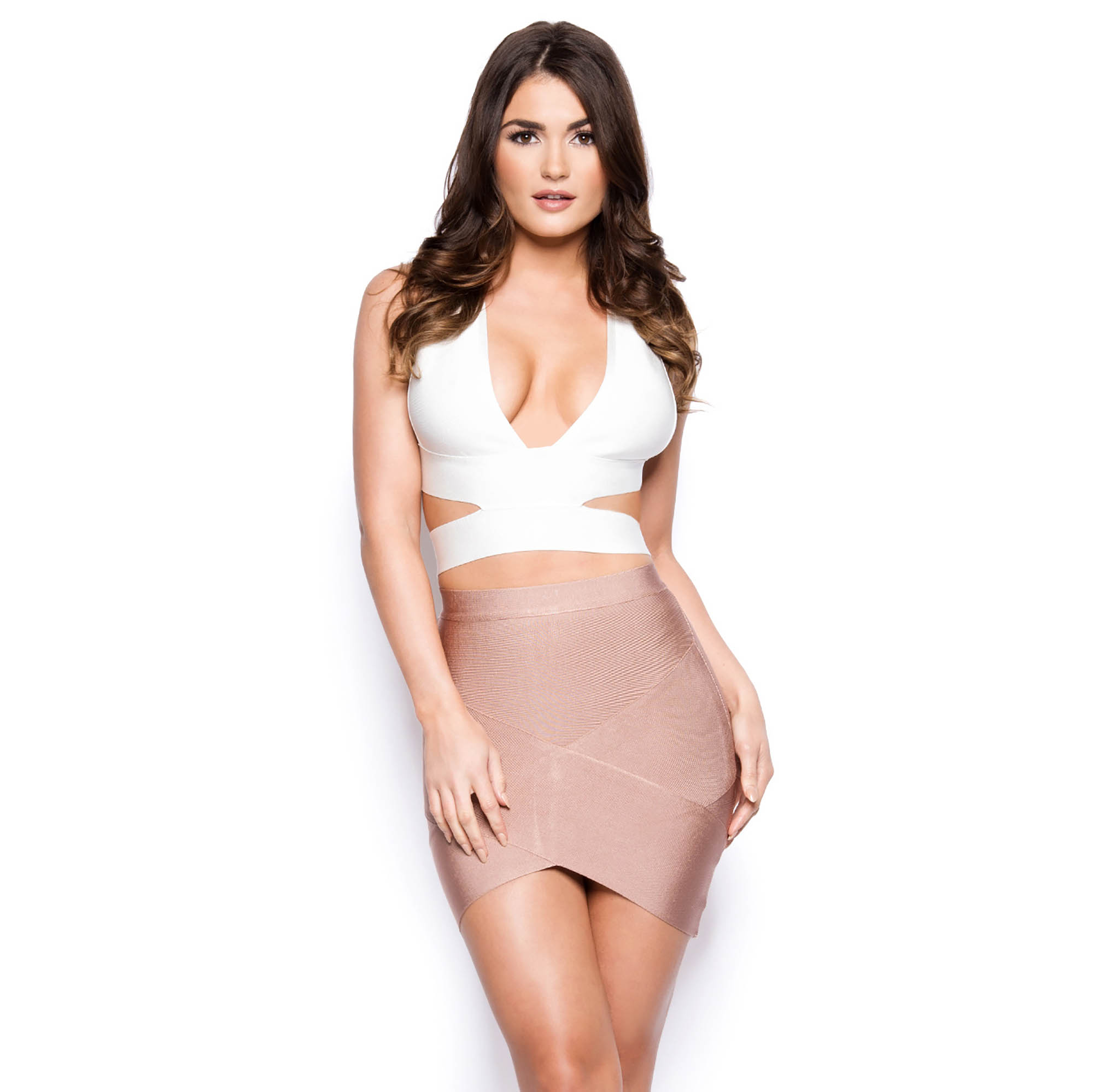 Attached At The Hip Bandage Wrap Mini Skirt In Coffee