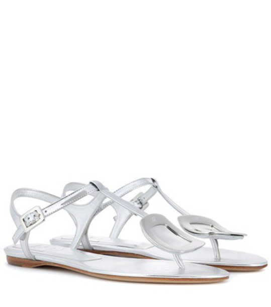 Roger Vivier embellished sandals leather sandals leather silver shoes