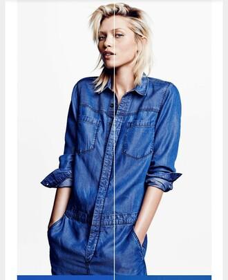 jumpsuit blue jumpsuit jean jumpsuit summer outfits