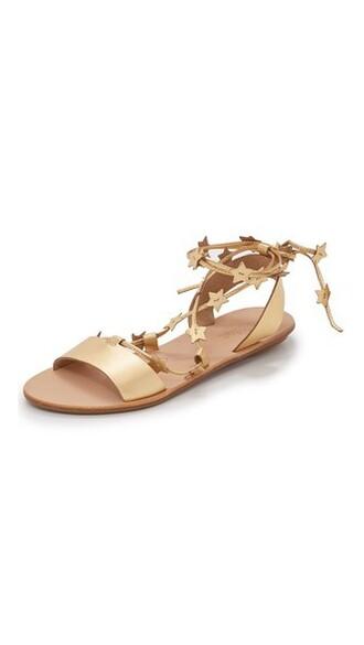 pale sandals flat sandals gold shoes